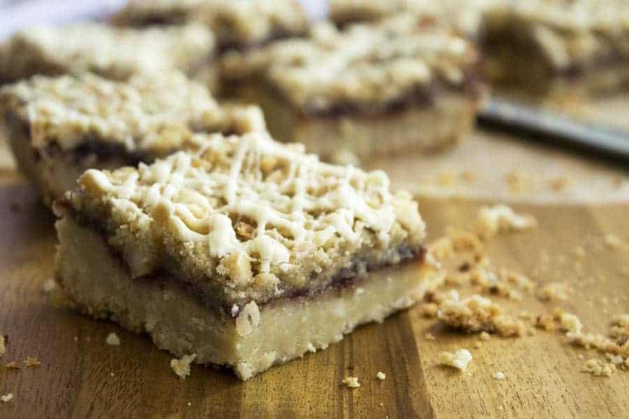 White Chocolate Macadamia Nut Raspberry Streusel Bars | The Hungry Waitress