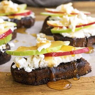 Goat Cheese and Honey Bruschetta is an easy appetizer recipe | The Hungry Waitress