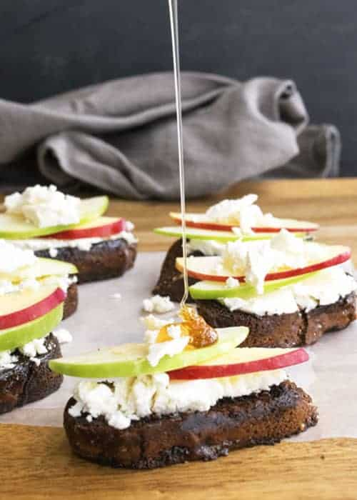 Goat Cheese and Honey Bruschetta is an easy party appetizer. It comes together in 10 minutes. The sweet honey compliments the tangy goat cheese perfectly. This is great for Thanksgiving or Christmas appetizers!