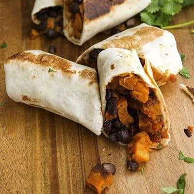 Sweet Potato Black Bean Burrito is a great vegan freezer friendly recipe. | The Hungry Waitress