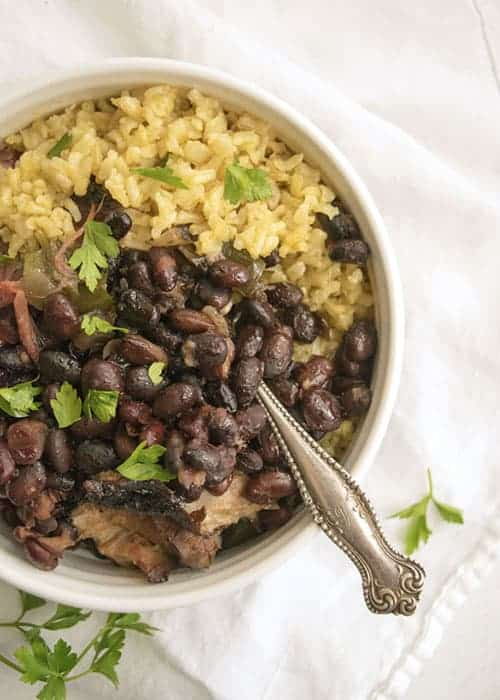 Crockpot Cuban Black Beans are perfect for that leftover ham bone you have from holiday meals. Throw everything in the Crock Pot and have an easy healthy dinner ready to go! Serve these beans as is or over rice.