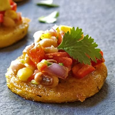 Black Eyed Pea Salsa with Crispy Polenta