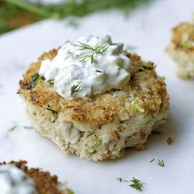 Crab Cake with Homemade Tartar Sauce is a great special occasion recipe. | The Hungry Waitress