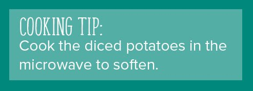 Cook the diced potatoes in the microwave to soften.