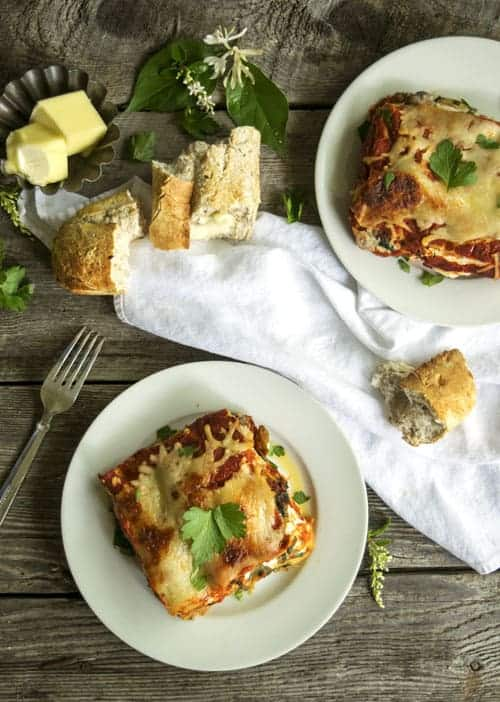 Roasted Vegetable Lasagna is one of my favorite vegetarian recipes. The mushrooms and eggplant make up for the lack of meat, and add wonderful textures to this cheese comfort food. Make a big batch and freeze some for later!