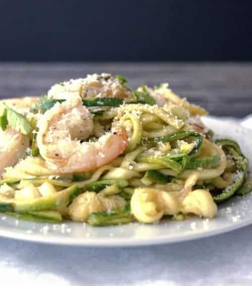 This Shrimp Scampi with Zucchini Noodles recipe from Tyler Florence is my favorite scampi recipe. I lighten it up by using zucchini noodles, but feel free to use real pasta!
