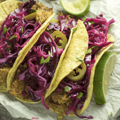BBQ Tacos are a great leftover taco recipe. I add tangy pickled cabbage and jalapeños to give a spicy twist to this dinner recipe.