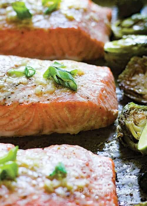 One pan buttery garlic salmon with brussels sprouts by Berry Maple