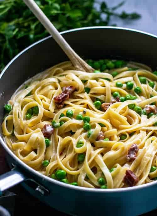 Pot of Fettuccine Alfredo with Pancetta and Peas