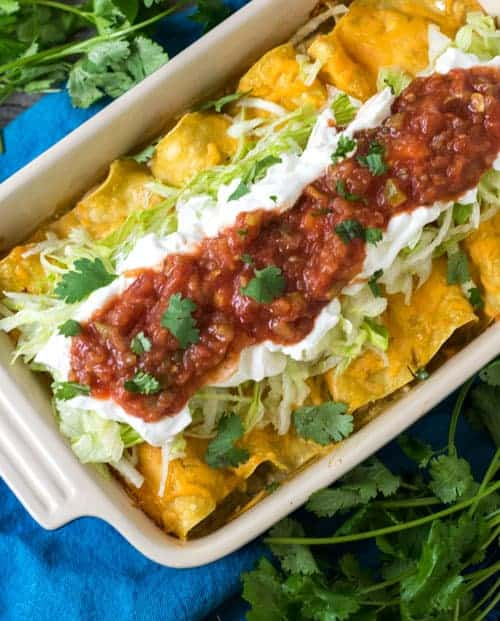 Sour Cream Chicken Enchiladas are a simple dinner recipe everyone enjoys.