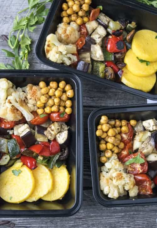 Roasted Greek Vegetables with Polenta is a hearty vegan meal prep recipe. It easily makes four meals.