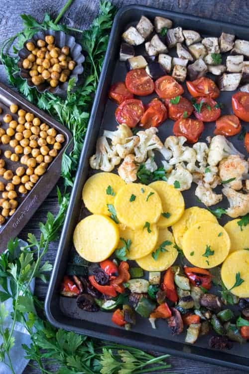 Roasted Greek Vegetables with Polenta is a hearty vegan meal prep recipe