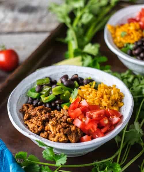 A good helping of this Healthy Taco Bowl