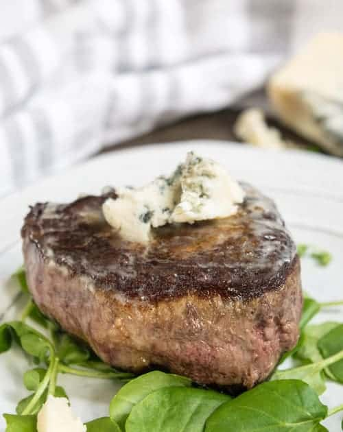 Easy Filet Mignon with Blue Cheese Crumbles