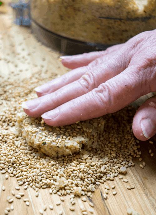 Patting out a Falafel