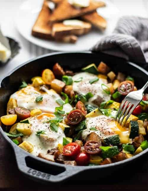 Vegetable Hash with a runny egg on top