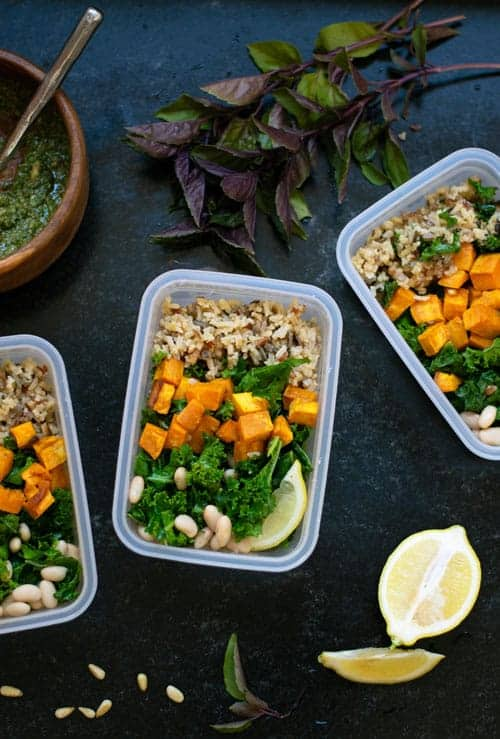 Vegan Sweet Potato and White Bean Bowl Meal Prep