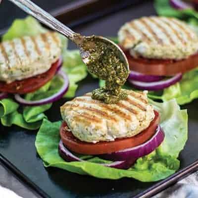 Grilled Chicken Pesto Burgers