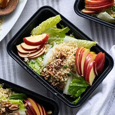 Meal Prep of Vegan Apple Quinoa Salad with Maple Balsamic Vinaigrette