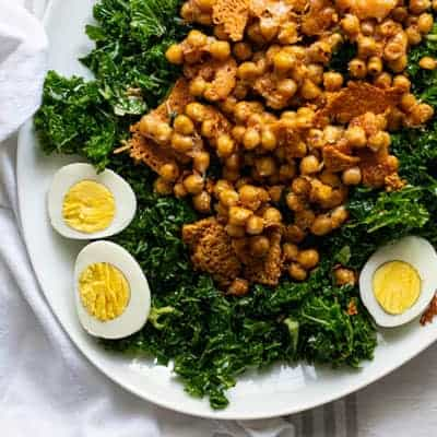 Kale Salad with Caesar Vinaigrette and Parmesan Chickpeas