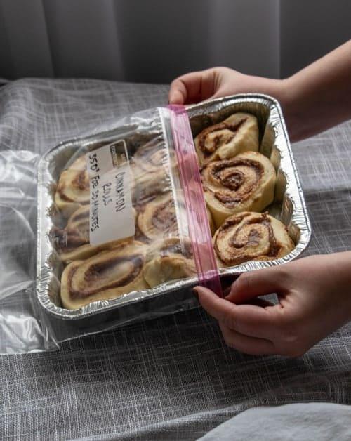 Cinnamon Rolls in a freezer bag