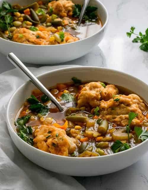 Easy Vegan Vegetable and Dumpling Soup
