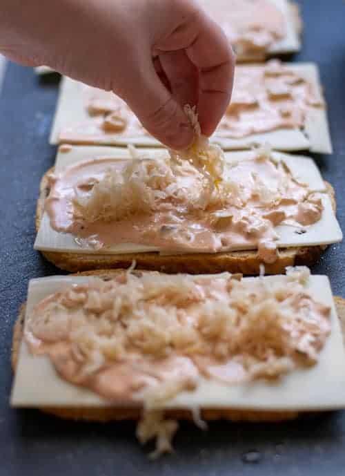 Thousand Island Dressing on a Reuben Sandwich