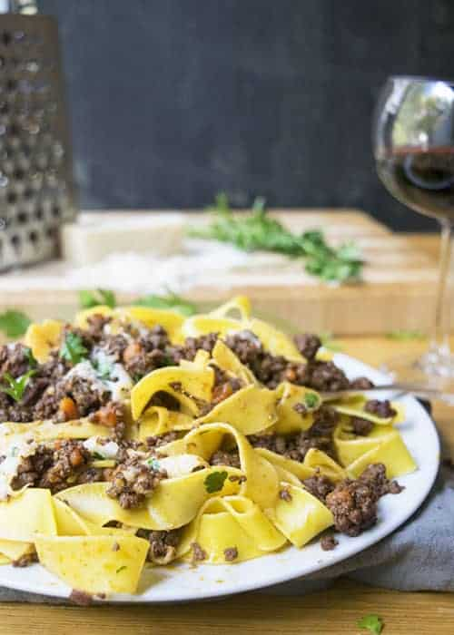 Southern Style Bolognese is great for holidays, celebrations, or Sunday dinners. This pasta is one of my favorite recipes! | The Hungry Waitress