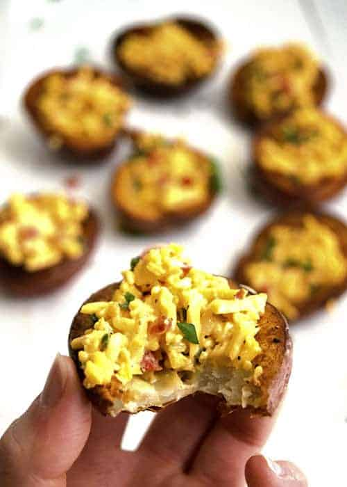 Pimento Cheese Potato Skins makes a great appetizer recipe. This southern spread was made to be on a potato. I love this mash up appetizer!