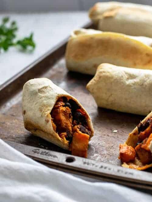 Vegan Sweet Potato Black Bean Breakfast Burrito cut open