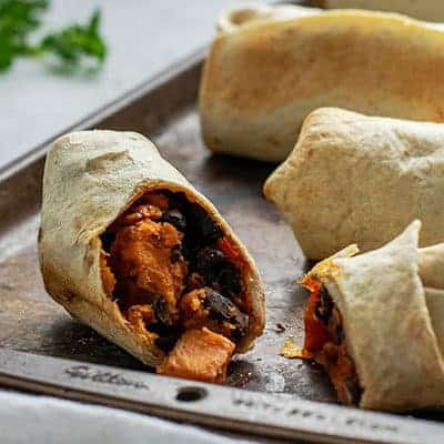 Vegan Sweet Potato and Black Bean Breakfast Burritos