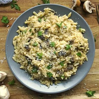 30 Minute Mushroom Orzo Risotto makes a great side dish or main dish recipe. | The Hungry Waitress