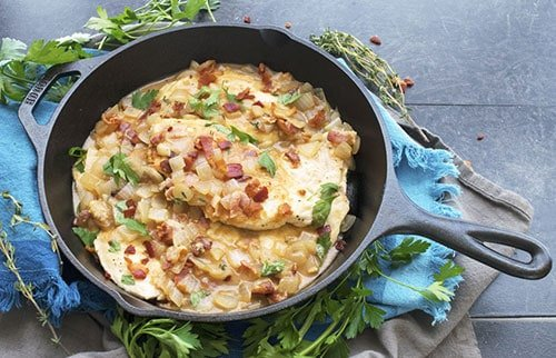 Skillet Chicken with Bacon Mustard Sauce has every flavor you want in a dinner recipe. It's a crispy, tangy, savory, satisfying, and most importantly easy recipe. It's a crowd pleaser.