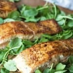 Simple Cajun Salmon only has 3 ingredients! This makes a perfect week night meal. It's a fast and healthy recipe. The Cajun spice is delicious on salmon!
