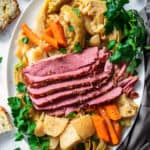 Platter of Crock Pot Corned Beef and Cabbage