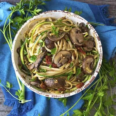 Vegan Sun-Dried Tomato Pesto Zucchini and Mushroom Pasta
