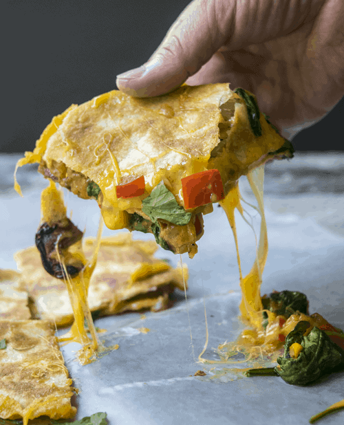 Farmers Market Quesadilla is stuffed with vegetables, and is a great way to use up leftovers. They are a fast dinner recipe.