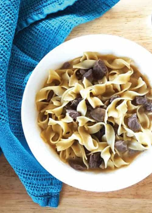 One Pot Beef Stroganoff Soup with Sauteed Mushrooms and Egg Noodles by Feast In Thyme