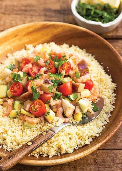 Homemade Couscous with Eggplant, Zucchini, and Shrimp by Foodal