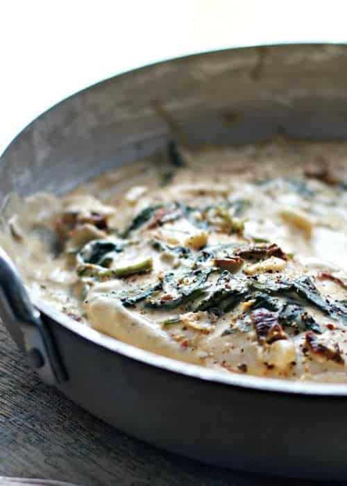 Creamy Garlic Sundried Tomato and Spinach Chicken by Loaves and Dishes