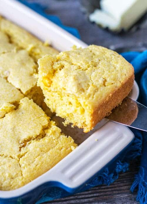 A slice of Classic Southern Cornbread from The Hungry Waitress
