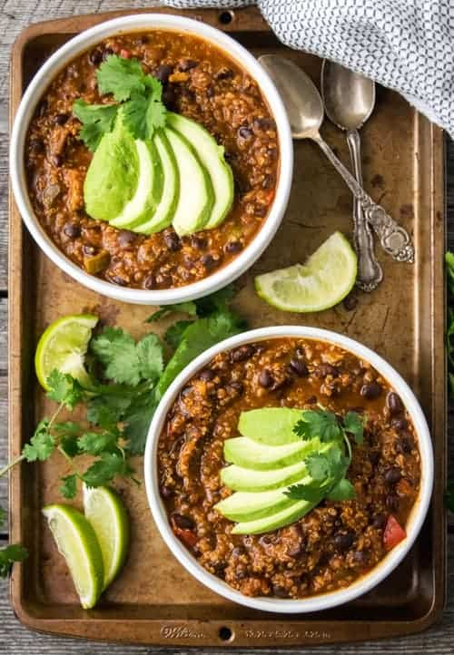 Beautiful Hearty Vegan Chili is a great vegan recipe that will keep you warm during these cold months. This vegan dinner recipe is packed with protein and vegetables!