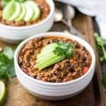 Hearty Vegan Chili is a great vegan recipe that will keep you warm during these cold months. This vegan dinner recipe is packed with protein and vegetables!