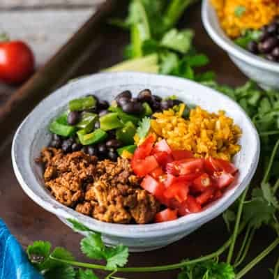 Close up of this Healthy Taco Bowl is Paleo and Whole30 approved