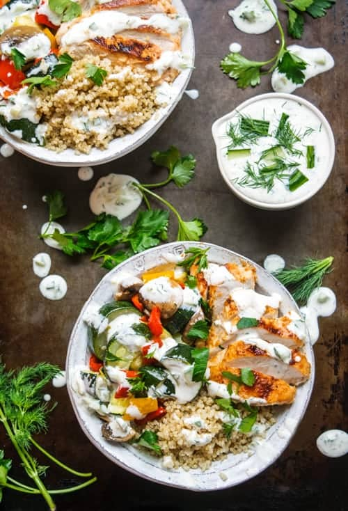Healthy Greek Chicken Bowls overflowing