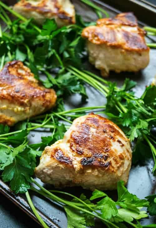 Yogurt Greek Chicken ready for the Healthy Greek Chicken Bowls