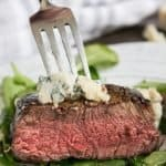 Cutting into Easy Filet Mignon with Blue Cheese Crumbles