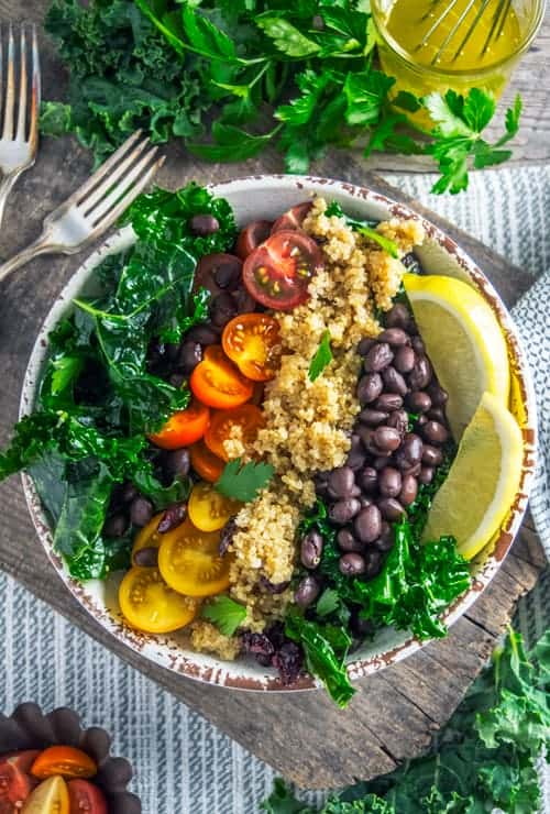Overhead shot of this Kale and Quinoa Salad
