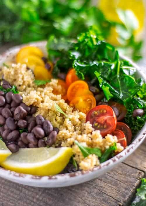 Close up of a Kale and Quinoa Salad