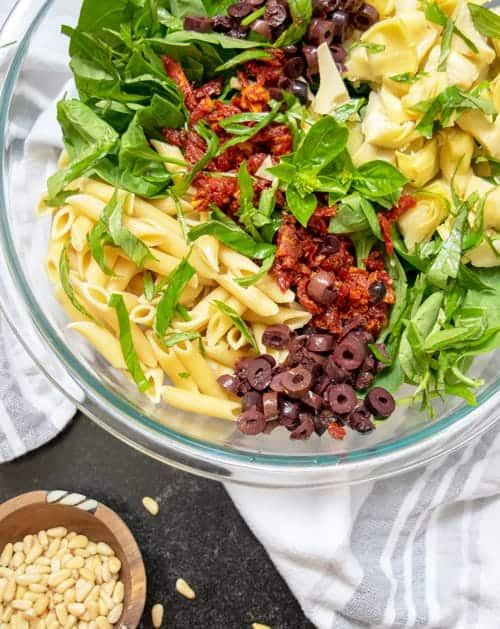 Easy Vegan Pasta Salad is a healthy side dish recipe to bring to any potluck, picnic, cookout or grill out.